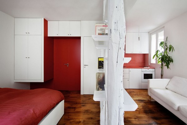 Red Accent Walls in Small Apartment